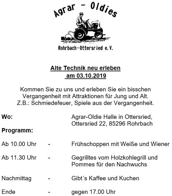 Alte Technik neu erleben @ Agrar-Oldies Halle | Rohrbach | Bayern | Deutschland