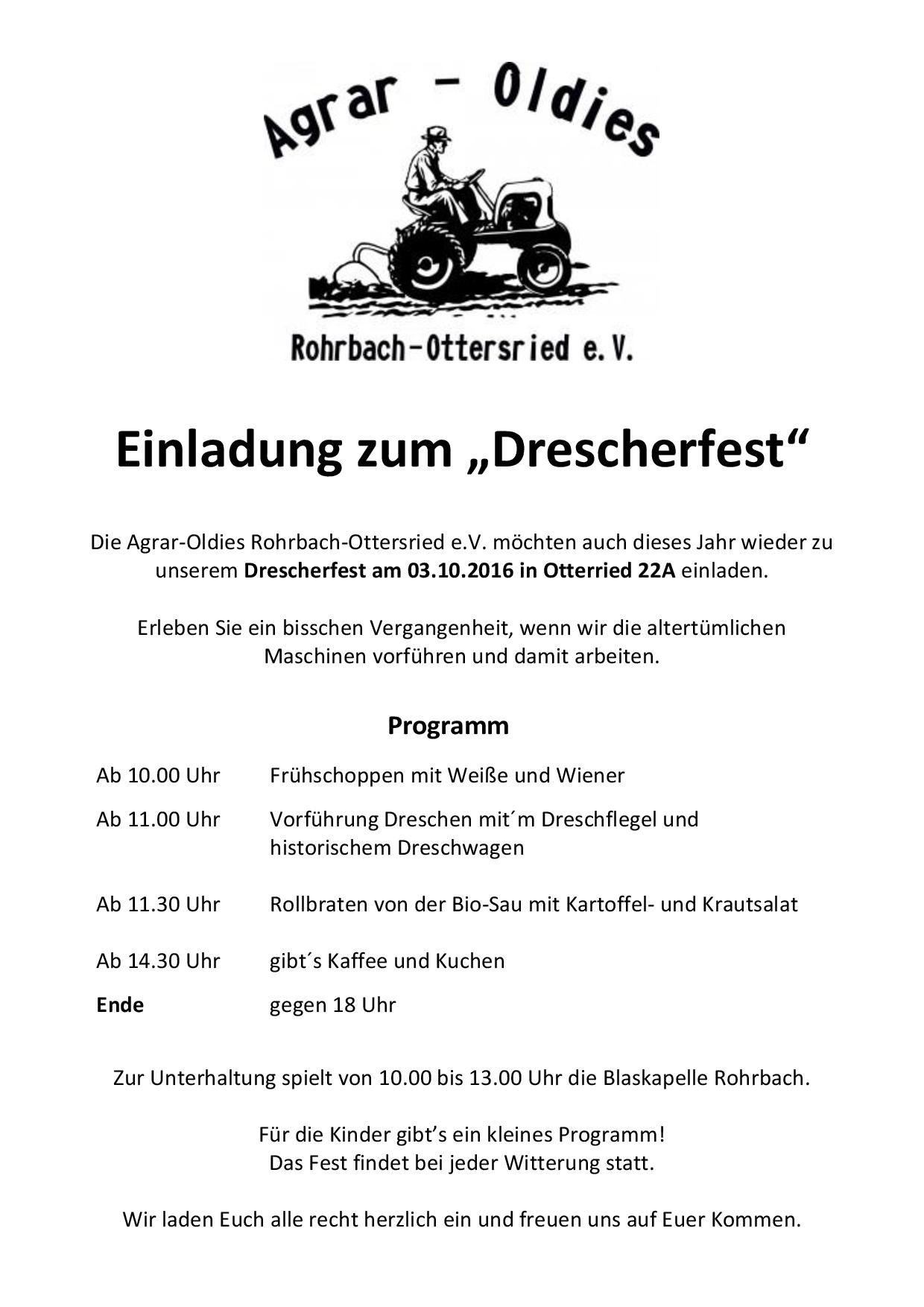 Einladung Drescherfest 2016