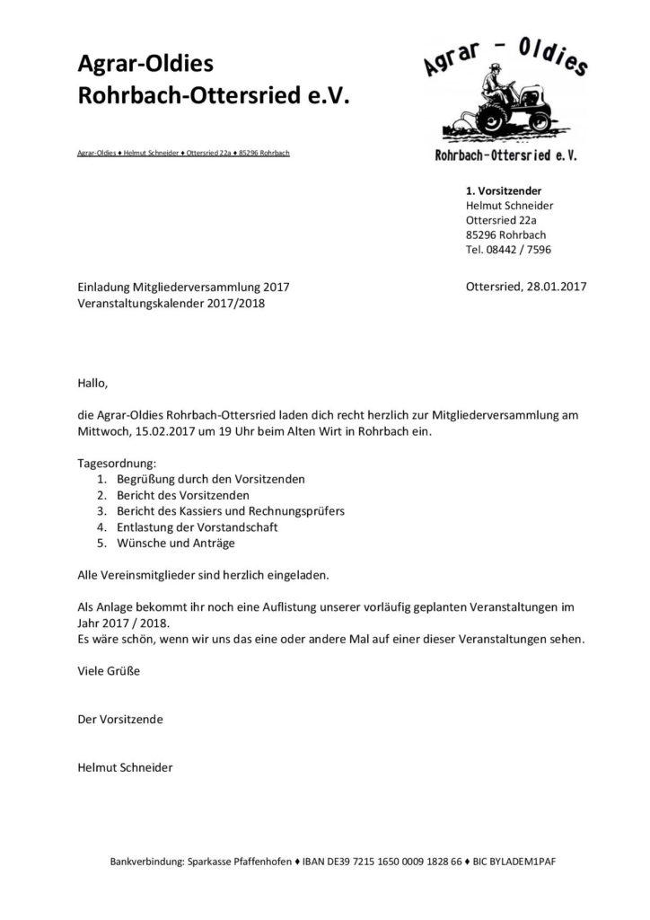 einladung mitgliederversammlung | agrar-oldies rohrbach-ottersried, Einladung