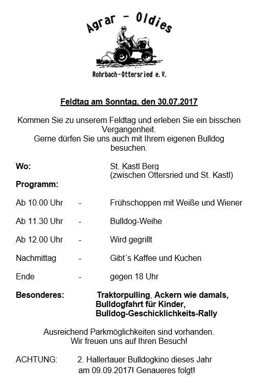 agrar-oldies rohrbach-ottersried e.v., Einladung